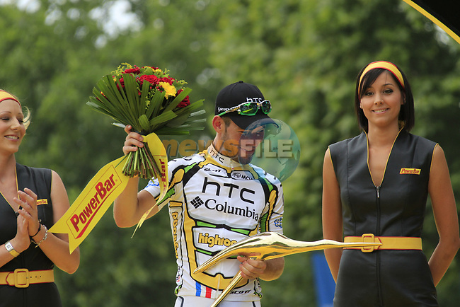 Mark Cavendish (GBR) HTC-Columbia on the podium after winning Stage 20 of the 2010 Tour de France running 102.5km from Longjumeau to Paris Champs-Elysees, France. 25th July 2010.<br /> (Photo by Eoin Clarke/NEWSFILE).<br /> All photos usage must carry mandatory copyright credit (© NEWSFILE | Eoin Clarke)