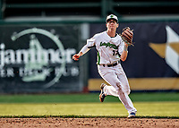20 June 2021: Vermont Lake Monsters infielder Pat Desalvo, from Tenafly, NJ, in action against the Westfield Starfires at Centennial Field in Burlington, Vermont. The Lake Monsters fell to the Starfires 10-2 at Centennial Field, in Burlington, Vermont. Mandatory Credit: Ed Wolfstein Photo *** RAW (NEF) Image File Available ***