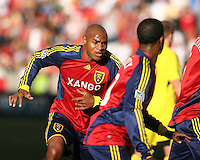 Real Salt Lake Defender Jameson Olave (4) in the Real Salt Lake 1-0 win over Columbus Crew in Game 1 of the Semi-Finals of the MLS Playoffs on October 31, 2009 at  Rio Tinto Stadium in Sandy, Utah