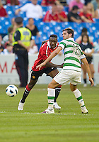 July 16, 2010 Danny Welbeck No. 19 of Manchester United and Joe Ledley No. 16 of Celtic FC during an international friendly between Manchester United and Celtic FC at the Rogers Centre in Toronto.