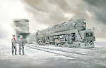 """A Pennsylvania Railroad T1 waiting in the snow for the engineer and fireman in the East Altoona Yard, circa 1954. Oil on canvas, 18"""" x 28""""."""