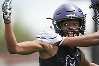 Fayetteville cornerback CJ Williams reacts as he intercepts a ball at the end zone, Thursday, July 15, 2021 during the Southwest Elite 7on7 tournament at Shiloh Christian in Springdale. Check out nwaonline.com/210716Daily/ for today's photo gallery. <br /> (NWA Democrat-Gazette/Charlie Kaijo)