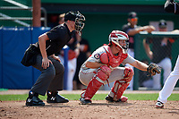 Auburn Doubledays catcher Nic Perkins (43) waits to receive a pitch in front of home plate umpire Benjamin Engstrand during a game against the Batavia Muckdogs on September 1, 2018 at Dwyer Stadium in Batavia, New York.  Auburn defeated Batavia 10-5.  (Mike Janes/Four Seam Images)
