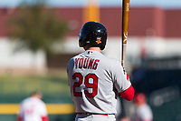 Surprise Saguaros second baseman Andy Young (29), of the St. Louis Cardinals organization, at bat during an Arizona Fall League game against the Mesa Solar Sox at Sloan Park on November 15, 2018 in Mesa, Arizona. Mesa defeated Surprise 11-10. (Zachary Lucy/Four Seam Images)