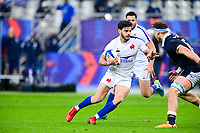 26th March 2021, Stade de France, Saint-Denis, France; Guinness 6-Nations international rugby, France versus Scotland;  Romain Ntamack (Fra) cuts inside the tackle of Ritchie of Scotland