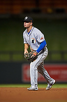 Glendale Desert Dogs second baseman Omar Estevez (7), of the Los Angeles Dodgers organization, during an Arizona Fall League game against the Scottsdale Scorpions on September 20, 2019 at Salt River Fields at Talking Stick in Scottsdale, Arizona. Scottsdale defeated Glendale 3-2. (Zachary Lucy/Four Seam Images)
