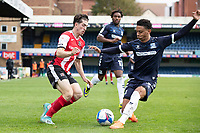 Nathan Ralph, Southend United stops the attack from Josh Key of Exeter City during Southend United vs Exeter City, Sky Bet EFL League 2 Football at Roots Hall on 10th October 2020