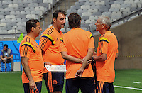 BELO HORIZONTE - BRASIL -13-06-2014. El cuerpo técnico de la selección de fútbol de Colombia durante el entrenamiento previo al primer partido del Grupo C ante Grecia como parte de la Copa Mundial de la FIFA Brasil 2014 en el estadio Mineirao de Belo Horizonte./ The coaching staff of the Colombia National Soccer Team during the training session prior of the first match against Grece as part of the 2014 FIFA World Cup Brazil at Mineirao satdium in Belo Horizonte Photo: VizzorImage / Alfredo Gutiérrez / Contribuidor