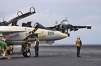 """- landing of a A 7 """"Intruder"""" strike aircraft and F 14 """"Tomcat"""" fighter aircraft on Roosevelt aircraft carrier<br /> <br /> - appontaggio di un aereo da attacco A 7 """"Intruder"""" e caccia F 14 """"Tomcat"""" a bordo della portaerei Roosevelt"""