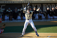 Shane Muntz (11) of the Wake Forest Demon Deacons at bat against the Gardner-Webb Runnin' Bulldogs at David F. Couch Ballpark on February 18, 2018 in  Winston-Salem, North Carolina. The Demon Deacons defeated the Runnin' Bulldogs 8-4 in game one of a double-header.  (Brian Westerholt/Four Seam Images)