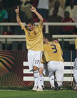 Pablo Sarabia celebrates. Spain defeated the U.S. Under-17 Men National Team  2-1 at Sani Abacha Stadium in Kano, Nigeria on October 26, 2009.