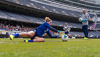 CHICAGO, IL - OCTOBER 5: Alyssa Naeher #1 of the United States makes a save at Soldier Field on October 5, 2019 in Chicago, Illinois.