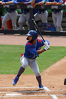 South Bend Cubs outfielder D.J. Artis (7) at bat during a game against the Wisconsin Timber Rattlers on July 21, 2021 at Neuroscience Group Field at Fox Cities Stadium in Grand Chute, Wisconsin.  (Brad Krause/Four Seam Images)