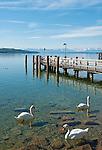 Germany, Bavaria, Upper Bavaria, Starnberg: Lake Starnberg, landing stage, Bavarian Alps, Wetterstein mountains with summit Zugspitze