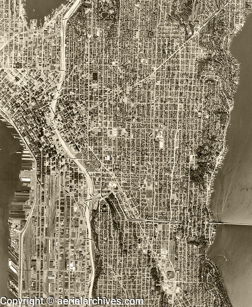 historical aerial photograph of Seattle, Washington, 1968