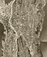 historical aerial photograph of Seattle, Washington, 1968