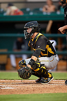 Bradenton Marauders catcher Jason Delay (5) during the second game of a doubleheader against the Lakeland Flying Tigers on April 11, 2018 at Publix Field at Joker Marchant Stadium in Lakeland, Florida.  Bradenton defeated Lakeland 1-0.  (Mike Janes/Four Seam Images)