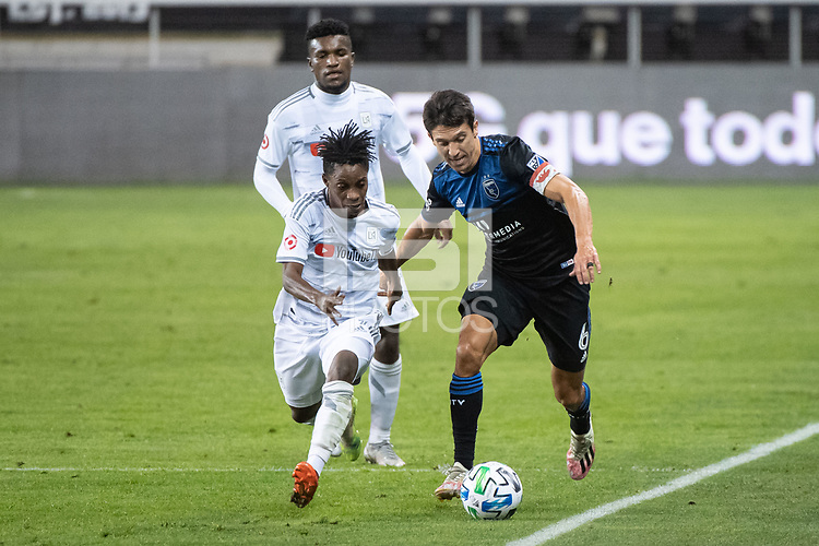 SAN JOSE, CA - NOVEMBER 04: Latif Blessing #7 of the Los Angeles FC chases Shea Salinas #6 of the San Jose Earthquakes during a game between Los Angeles FC and San Jose Earthquakes at Earthquakes Stadium on November 04, 2020 in San Jose, California.