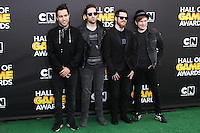 SANTA MONICA, CA, USA - FEBRUARY 15: Pete Wentz, Joe Trohman, Andy Hurley, and Patrick Stump of Fall Out Boy at the 4th Annual Cartoon Network Hall Of Game Awards held at Barker Hangar on February 15, 2014 in Santa Monica, California, United States. (Photo by David Acosta/Celebrity Monitor)