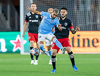 WASHINGTON, DC - APRIL 17: Maxi Moralez #10 of New York City FC controls the ball during a game between New York City FC and D.C. United at Audi Field on April 17, 2021 in Washington, DC.