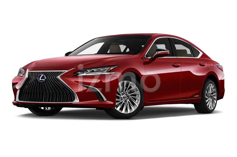 Stock pictures of low aggressive front three quarter view of 2019 Lexus ES 300h-Privilege-Line 4 Door Sedan Low Aggressive