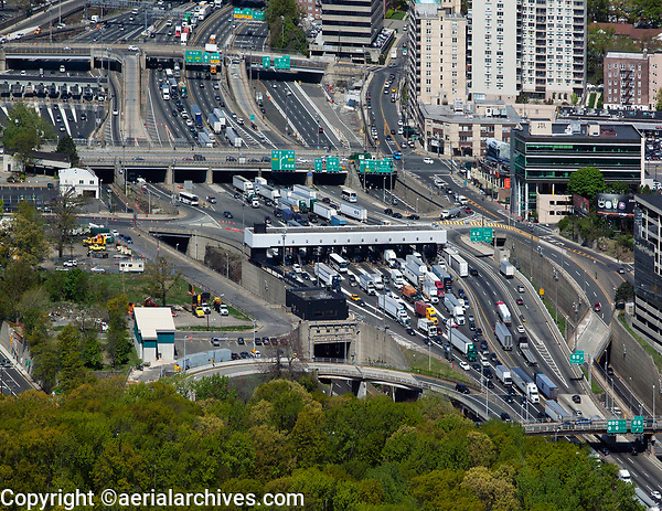 aerial photograph of numerous trucks entering the George Washington bridge after passing through the toll plazas, Fort Lee, New Jersey