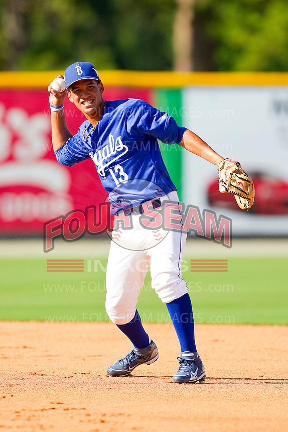 Burlington Royals shortstop Humberto Arteaga #13 makes a throw to first base during practice at Burlington Athletic Park on June 15, 2012 in Burlington, North Carolina.  (Brian Westerholt/Four Seam Images)