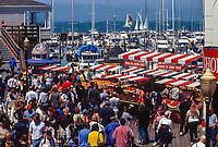 San Francisco, California, USA. Pier 21 Weekend Crowd.