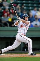Outfielder Bo Greenwell (31) of the Greenville Drive bats in a game against the Kannapolis Intimidators on Thursday, April 10, 2014, at Fluor Field at the West End in Greenville, South Carolina. Greenville won, 7-6. (Tom Priddy/Four Seam Images)