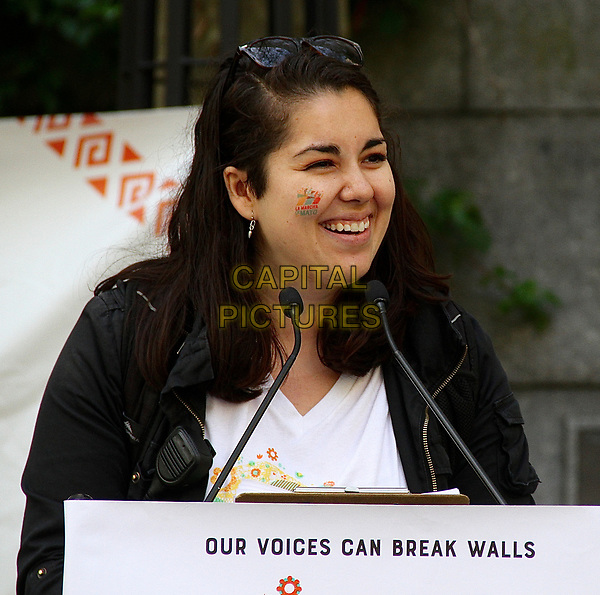 """NEW YORK, NY - MAY 6: Ana Breton, organizer of La March de Mayo and a digital producer with the TBS show, """"Full Frontal with Samantha Bee'' at the La Marcha de Mayo in New York, New York on May 6, 2017.  <br /> CAP/MPI/RMP<br /> ©RMP/MPI/Capital Pictures"""