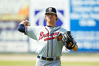 Rome Braves starting pitcher Lucas Sims (26) warms up in the outfield prior to the game against the Kannapolis Intimidators at CMC-Northeast Stadium on June 16, 2013 in Kannapolis, North Carolina.  The Intimidators defeated the Braves 6-4.   (Brian Westerholt/Four Seam Images)
