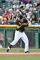 Taylor Lindsey (8) Salt Lake Bees at bat against the Fresno Grizzlies at Smith's Ballpark on May 25, 2014 in Salt Lake City, Utah.  (Stephen Smith/Four Seam Images)