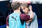 Real Madrid Luka Modric and A.C. Milan Alen Halilovic during Santiago Bernabeu Trophy match at Santiago Bernabeu Stadium in Madrid, Spain. August 11, 2018. (ALTERPHOTOS/Borja B.Hojas)