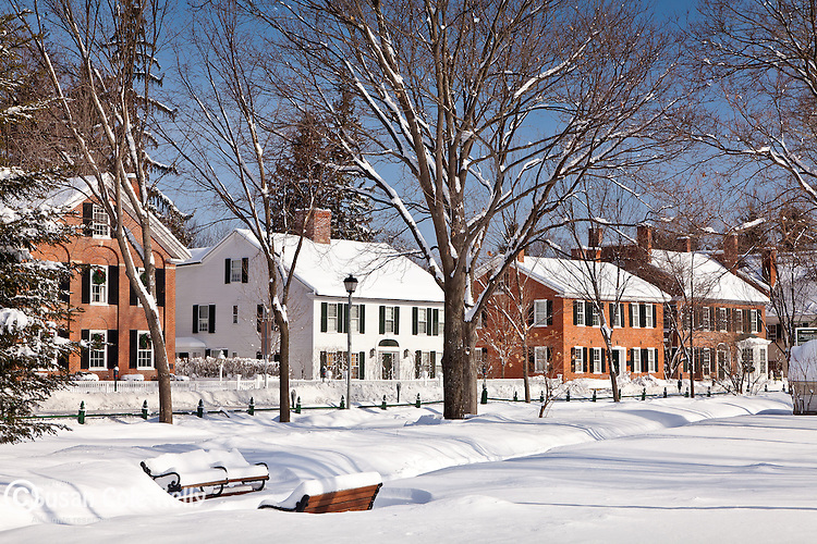 The town common in Woodstock, VT, USA
