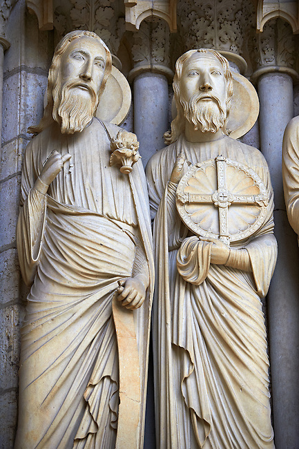 North Porch, Central Portal, right Jambs- General View c. 1194-1230. Cathedral of Chartres, France . Gothic statues of figures of, from left Isaiah and Jeremiah. A UNESCO World Heritage Site.