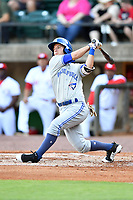 Bluefield Blue Jays third baseman Davis Schneider (8) swings at a pitch during a game against the Greeneville Reds at Pioneer Park on June 30, 2018 in Greeneville, Tennessee. The Blue Jays defeated the Red 7-3. (Tony Farlow/Four Seam Images)