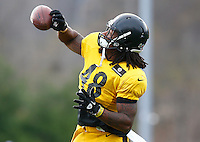 Bud Dupree #48 of the Pittsburgh Steelers practices at the south side practice facility on November 18, 2015 in Pittsburgh, PA.