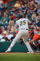 Trenton Thunder designated hitter Jhalan Jackson (25) at bat during a game against the Richmond Flying Squirrels on May 11, 2018 at The Diamond in Richmond, Virginia.  Richmond defeated Trenton 6-1.  (Mike Janes/Four Seam Images)
