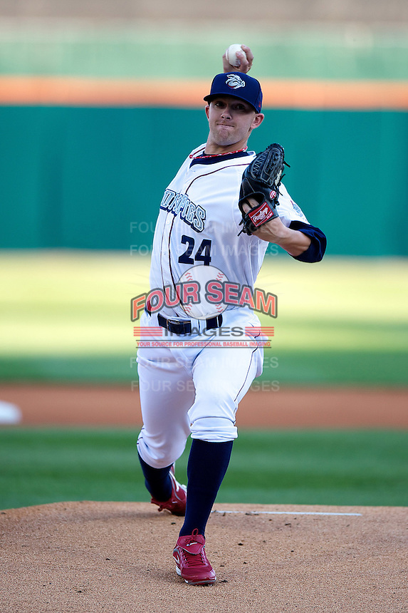 Lehigh Valley Ironpigs pitcher Tyler Cloyd #24 during the Triple-A All-Star game featuring the Pacific Coast League and International League top players at Coca-Cola Field on July 11, 2012 in Buffalo, New York.  PCL defeated the IL 3-0.  (Mike Janes/Four Seam Images)