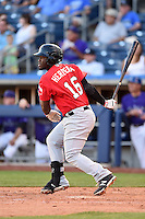 Frisco Rough Riders Odubel Herrera (16) at bat during the second game of a doubleheader against the Tulsa Drillers on May 29, 2014 at ONEOK Field in Tulsa, Oklahoma.  Frisco defeated Tulsa 3-2.  (Mike Janes/Four Seam Images)