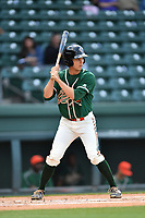 Designated hitter Walker Olis (31) of the Greensboro Grasshoppers bats in a game against the Greenville Drive on Tuesday, April 25, 2017, at Fluor Field at the West End in Greenville, South Carolina. Greenville won, 5-1. (Tom Priddy/Four Seam Images)