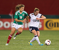 Rachel Buehler, Sofia Huerta. The USWNT defeated Mexico, 7-0, during an international friendly at RFK Stadium in Washington, DC.  The USWNT defeated Mexico, 7-0.