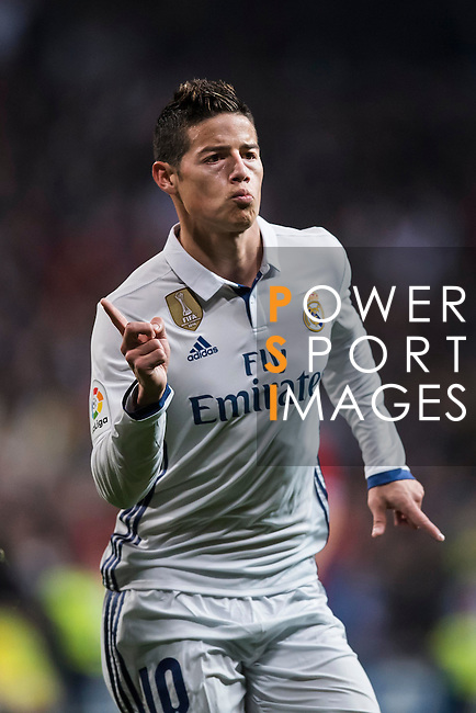 James Rodriguez of Real Madrid celebrates after scoring during their Copa del Rey Round of 16 match between Real Madrid and Sevilla FC at the Santiago Bernabeu Stadium on 04 January 2017 in Madrid, Spain. Photo by Diego Gonzalez Souto / Power Sport Images