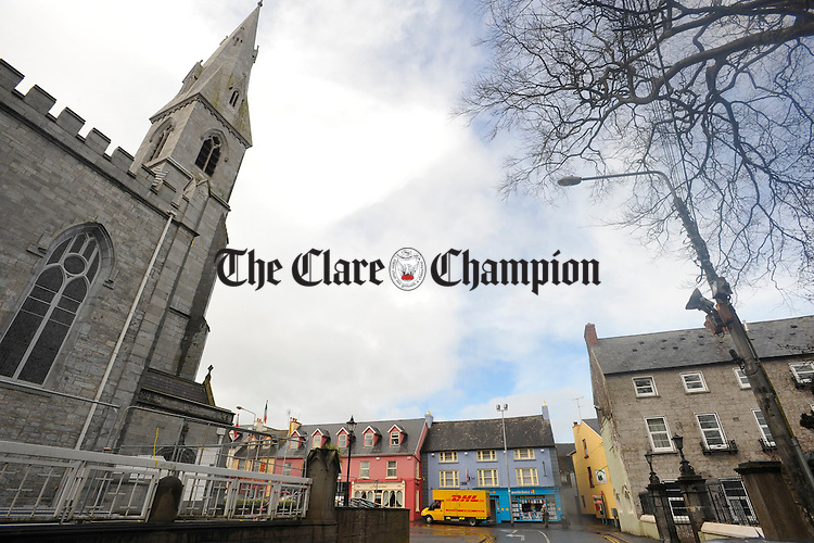 A view of Tom Mannion Travel with Ennis Cathedral adjacent. Photograph by John Kelly.