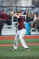 Iona Gaels starting pitcher Stephen Hansen (28) makes a throw to first base against the Rutgers Scarlet Knights at City Park on March 8, 2017 in New Rochelle, New York.  The Scarlet Knights defeated the Gaels 12-3.  (Brian Westerholt/Four Seam Images)