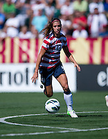 Alex Morgan (13) of the USWNT springs downfield during a friendly match at Sahlen's Stadium in Rochester, NY.  The USWNT defeated Costa Rica, 8-0.