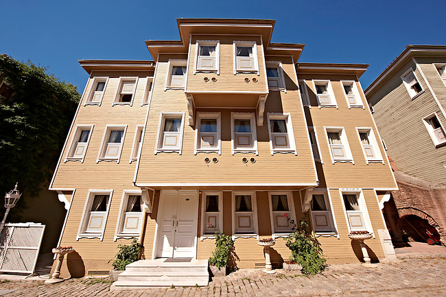 19th century historic Ottoman houses of Soukçeme Soka (Street of the Cold Fountain) built against the outer wall of the Topkapi Palace once the villas of high officials of the Sultan. Sultanahmet neighborhood  Istanbul Turkey