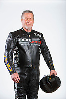Feb 6, 2020; Pomona, CA, USA; NHRA top fuel nitro Harley Davidson motorcycle rider Tim Kerrigan poses for a portrait during NHRA Media Day at the Pomona Fairplex. Mandatory Credit: Mark J. Rebilas-USA TODAY Sports