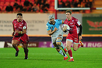 Angus O'Brien of Scarlets in action during the European Rugby Challenge Cup Round 4 match between the Scarlets and Bayonne at the Parc Y Scarlets in Llanelli, Wales, UK. Saturday 14 December 2019