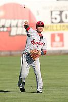 Isiah Kiner-Falefa #4 of the Spokane Indians during a game against the Salem-Keizer Volcanoes at Volcanoes Stadium on July 26, 2014 in Keizer, Oregon. Spokane defeated Salem Keizer, 4-1. (Larry Goren/Four Seam Images)